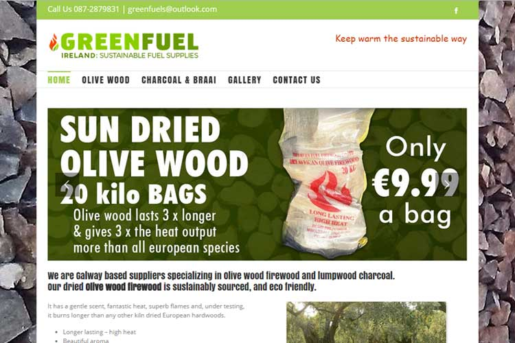 Green Fuel sell eco friendly Olive Wood firewood for stoves and barbecues and wanted lots of imagery to promote their product