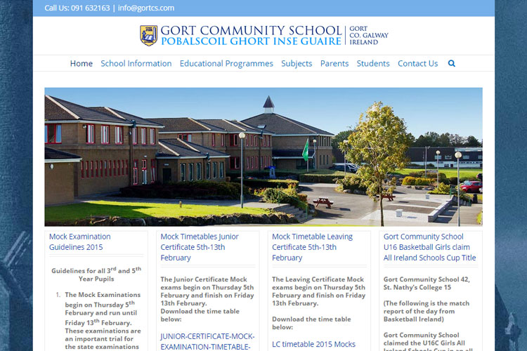 Gort Community School wanted restricted access for their teachers to their own relevant pages, and an online payment facility for parents.